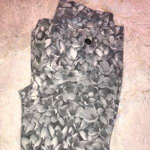 Michael Kors Gray Floral Print Skinny Jeans
